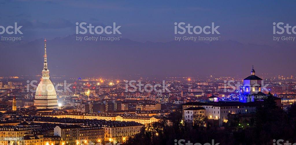 Turin (Torino), panorama with Mole Antonelliana and Alps stock photo