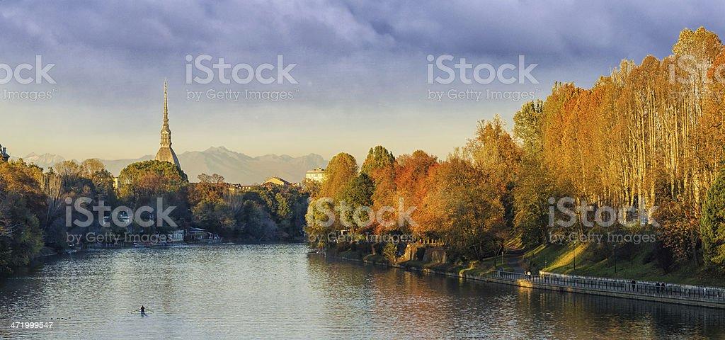 Turin (Torino), panorama with Mole Antonelliana and river Po stock photo