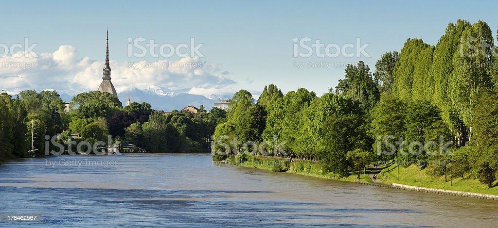 Turin (Torino), panorama with river Po and Mole Antonelliana stock photo
