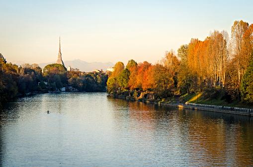 Turin (Torino), panorama with river Po and Mole Antonelliana