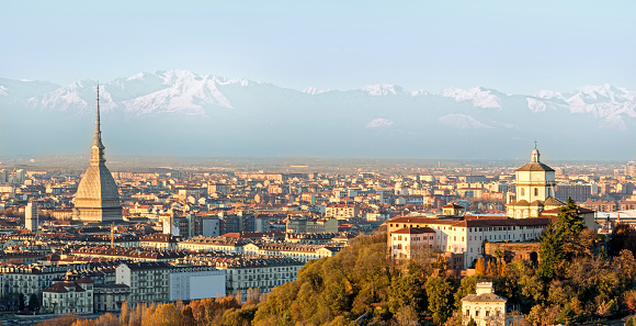 Turin (Torino), panorama with the Alps