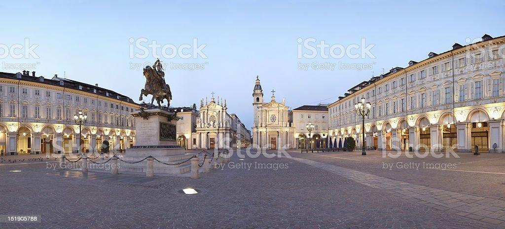 Turin piazza San Carlo stock photo