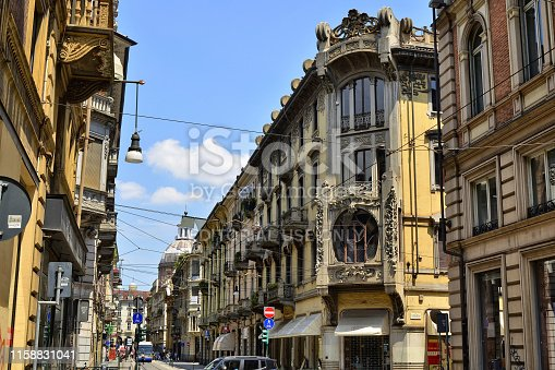 Turin, Piedmont, Italy. June 2018. Casa Florio Nizza, created by engineer Giuseppe Velati Bellini, is one of the interpretations of the liberty or art nouveau style, visible in the city.