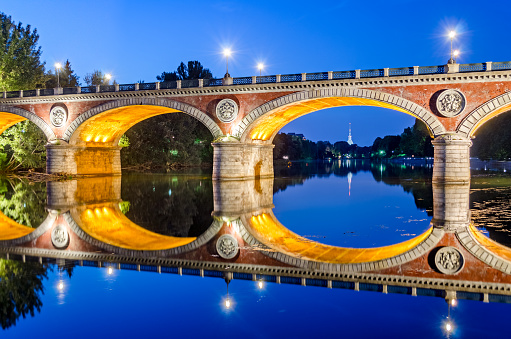 Turin (Torino), Ponte Isabella and river Po at blue hour