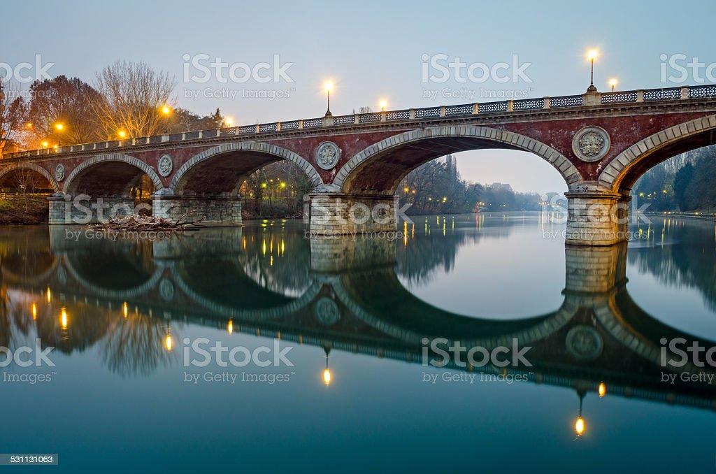 Turin (Torino), Ponte Isabella and river Po stock photo