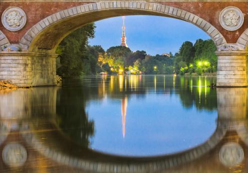 Turin (Torino), river Po and Mole Antonelliana