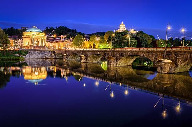 Turin (Torino) river Po Grand Madre and Monte dei Cappuccini stock photo