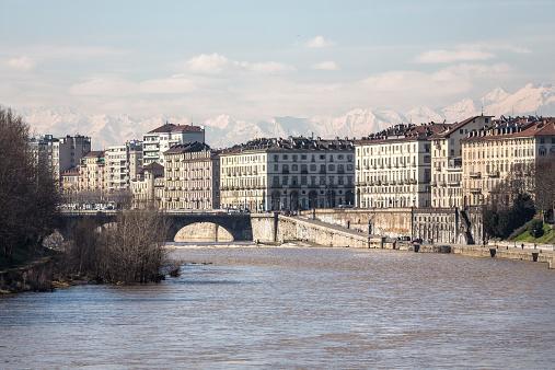 Turin skyline with snowcovered Alps, Piemonte Italy