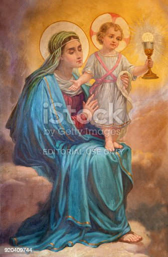 istock Turin - The detail of painting of Madonna in church Chiesa della Madonna del Carmine by unknown artist of 20. cent. 920409744