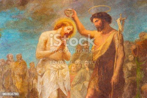 istock Turin - The fresco of Baptism of Christ in church Chiesa di San Dalmazzo 960604760