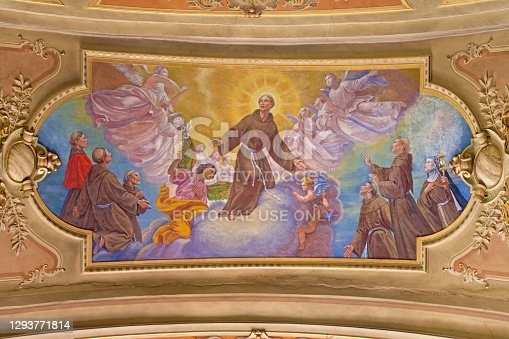 Turin - The fresco of Glory of St. Francis of Asissi in ceiling of Church Chiesa di Santo Tomaso by C. Secchi.