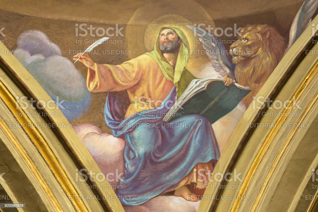 Turin - The fresco of St. Mark the Evangelist in cupola of Church Chiesa di Santo Tommaso by C. Secchi from bechin of 20. cent. stock photo