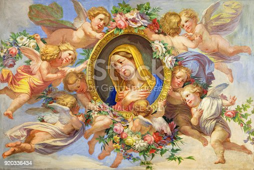 istock Turin - The fresco of Virgin Mary among the angels in Cattedrale di San Giovanni Battista and chapel of St. Massimo and Antonio abate by unknown artist 19. cent. 920336434