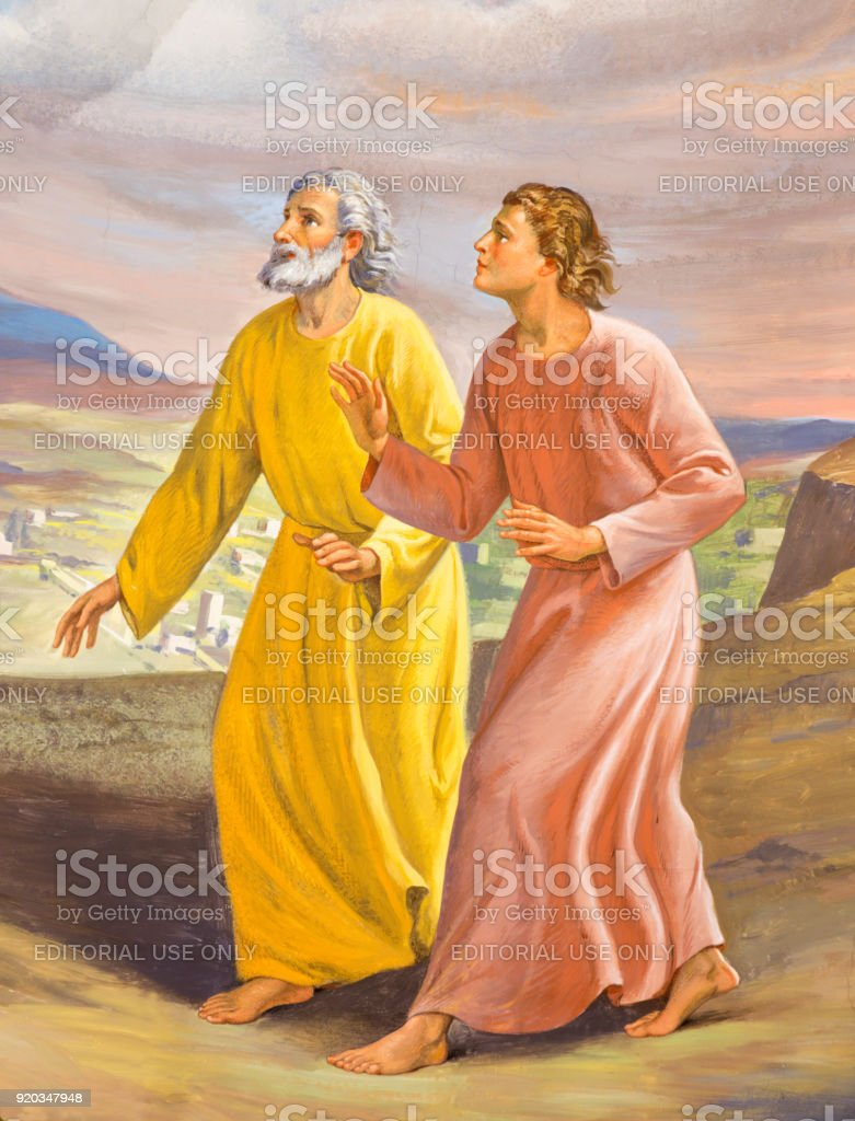 Turin - The fresco Run of St. John and Peter to the Empty Tomb in...