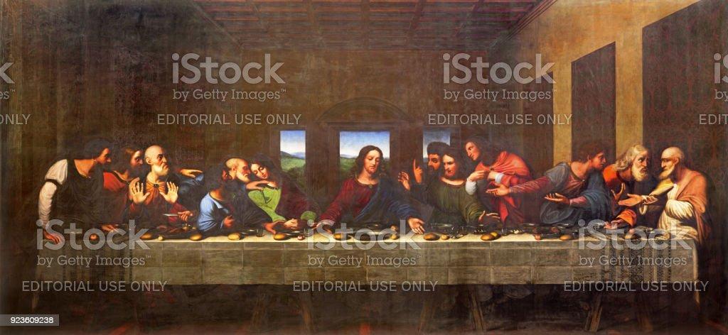 Turin - das Gemälde des letzten Abendmahls im Dom nach Leonardo da Vinci von Vercelli Luigi Cagna (1836). – Foto