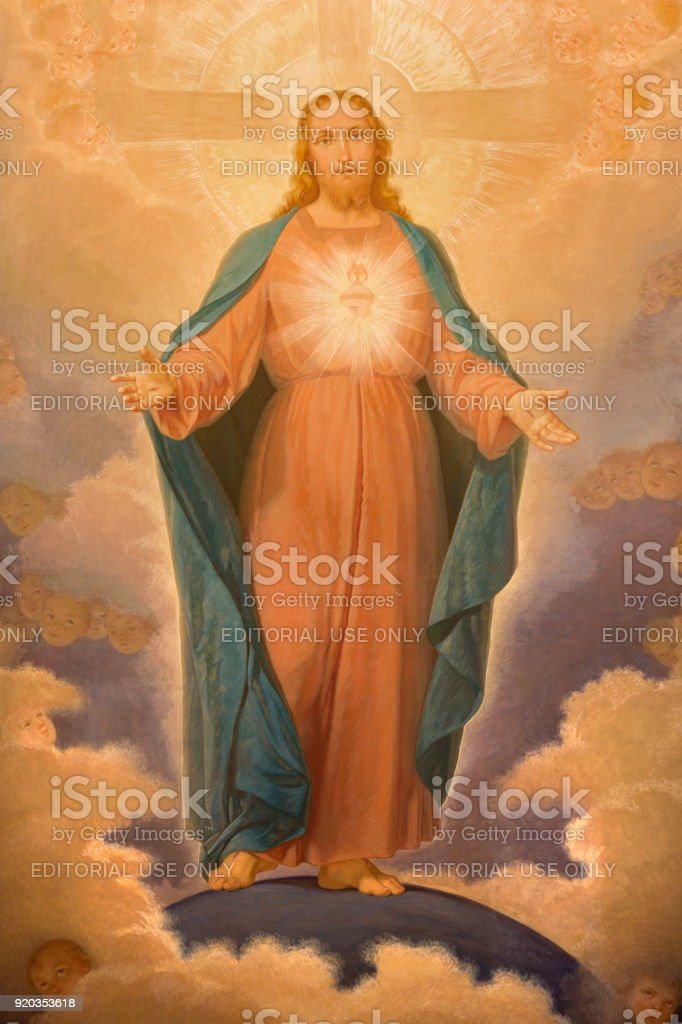 Turin - The painting of Sacred Heart of Jesus in church Chiesa di Santa Maria della Consolazione by Luigi Guglielmino (1885 - 1962). stock photo