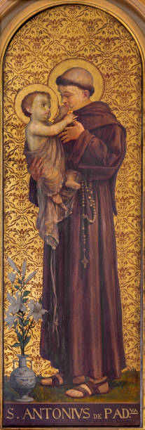 Turin - The painting of St. Anthony of Padua in church Chiesa di Santo Tomaso by unknown artist from and of 19. cent. Turin - The painting of St. Anthony of Padua in church Chiesa di Santo Tomaso by unknown artist from and of 19. cent. st. anthony of padua stock pictures, royalty-free photos & images