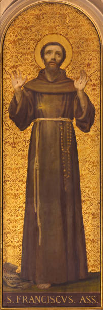 Turin - The painting of St. Francis of Assisi in church Chiesa di Santo Tomaso by unknown artist from and of 19. cent. Turin - The painting of St. Francis of Assisi in church Chiesa di Santo Tomaso by unknown artist from and of 19. cent. religious saint stock pictures, royalty-free photos & images
