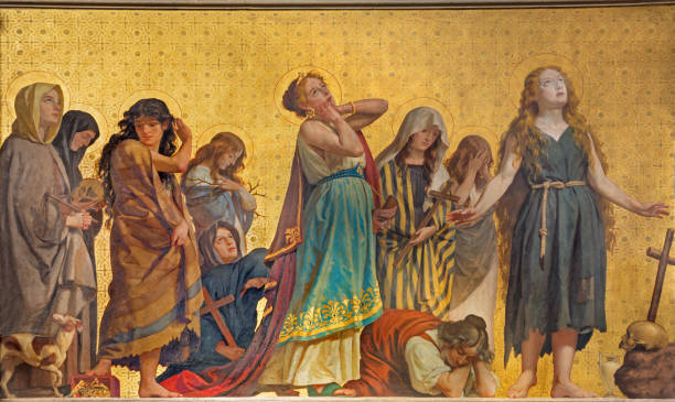 Turin - The symbolic fresco of holy women confessants in church Turin - The symbolic fresco of holy women confessants in church Chiesa di San Dalmazzo by Enrico Reffo (1831-1917). religious saint stock pictures, royalty-free photos & images