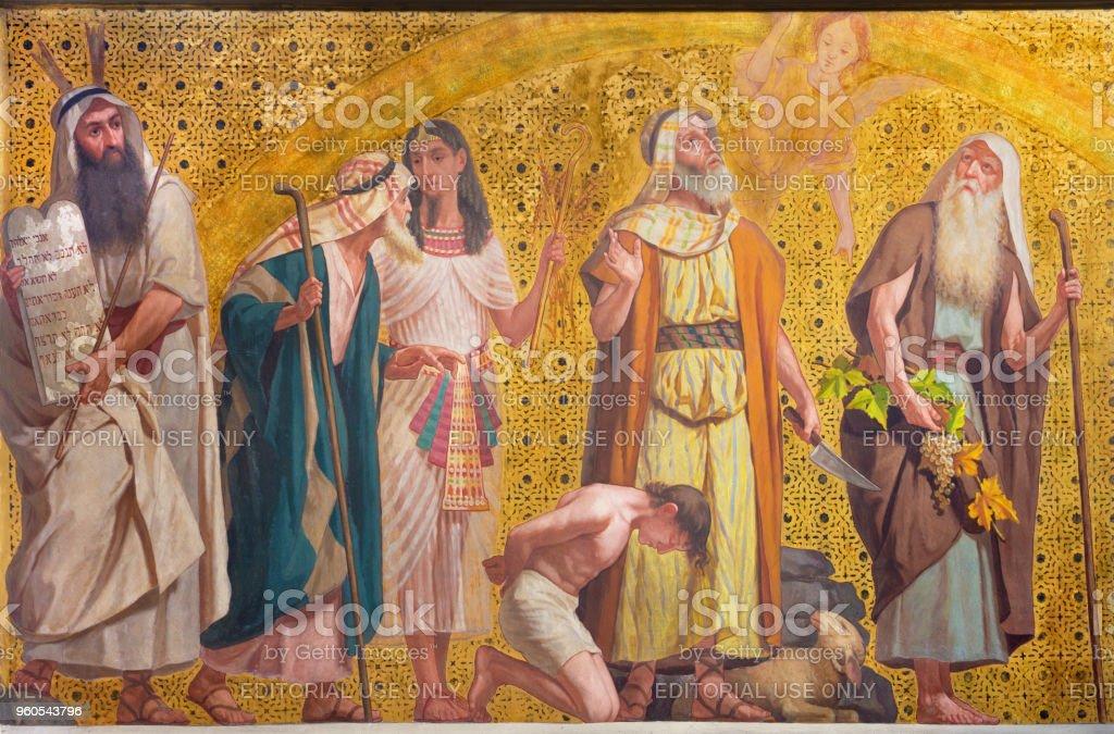 Turín - el simbólico fresco de patriarcas, Abraham, Moisés, José y Josué - foto de stock