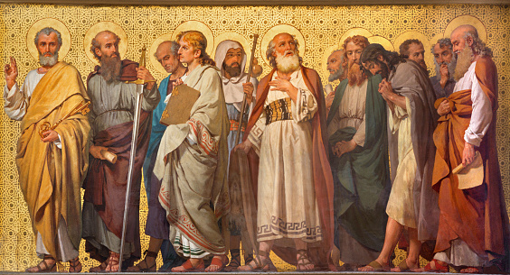 Turin - The symbolic fresco of Twelve apostles  in church Chiesa di San Dalmazzo by Enrico Reffo (1914).