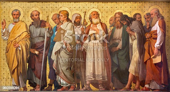 Turin - The symbolic fresco of Twelve apostles  in church Chiesa di San Dalmazzo by Enrico Reffo (1914).