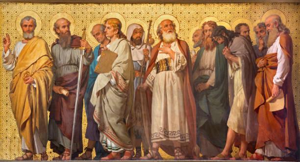 Turin - The symbolic fresco of Twelve apostles Turin - The symbolic fresco of Twelve apostles  in church Chiesa di San Dalmazzo by Enrico Reffo (1914). religious saint stock pictures, royalty-free photos & images