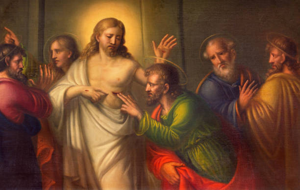 Turin - The The painting  The Doubt of St. Thomas in Church Chiesa di Santo Tomaso by unknown artist of 18. cent. stock photo