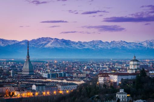 Turin (Torino), twilight panorama with Mole Antonelliana and Alp