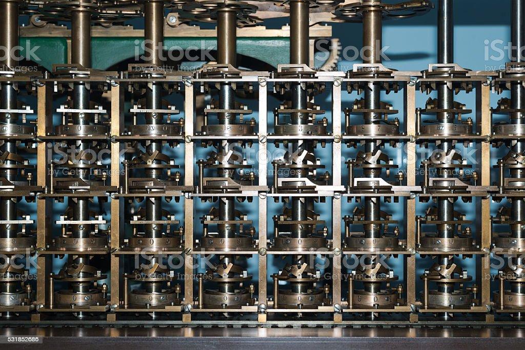Turing machine close-up stock photo