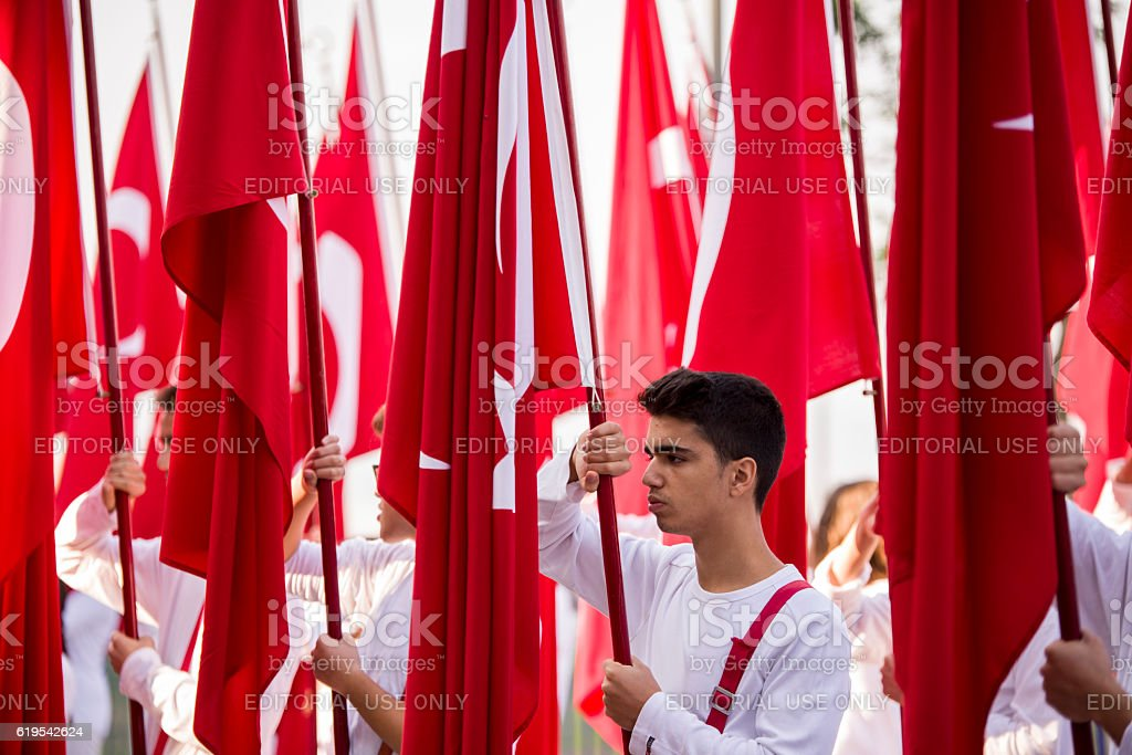 Turish flags and students stock photo