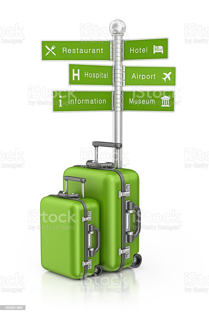 turist sign post and suitcases stock photo