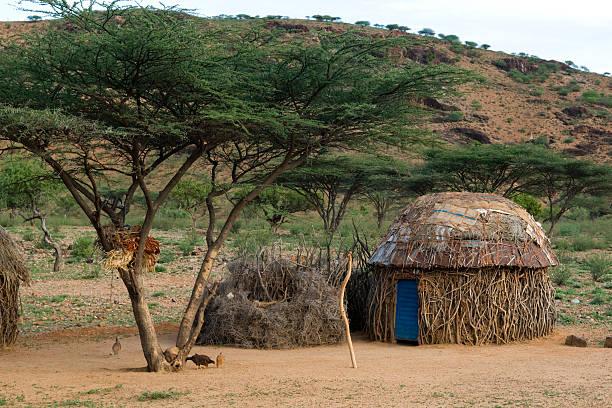 Turkana homestead, Kenya stock photo
