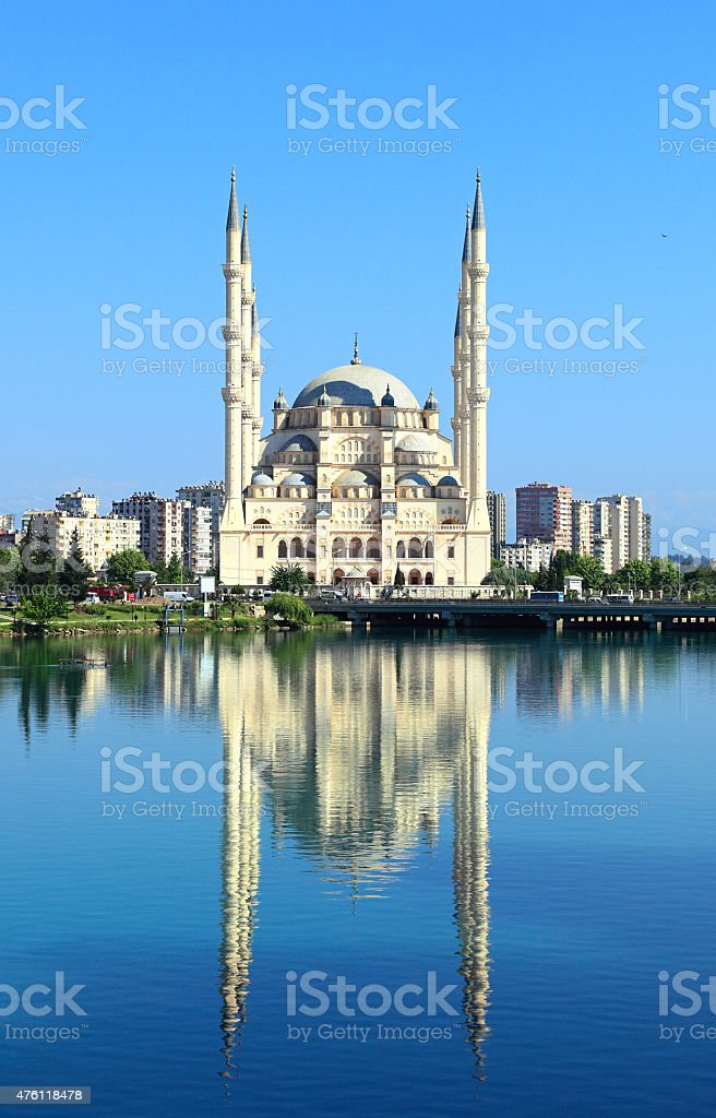 Turkey, Adana, Sabanci Central Mosque and Seyhan River stock photo