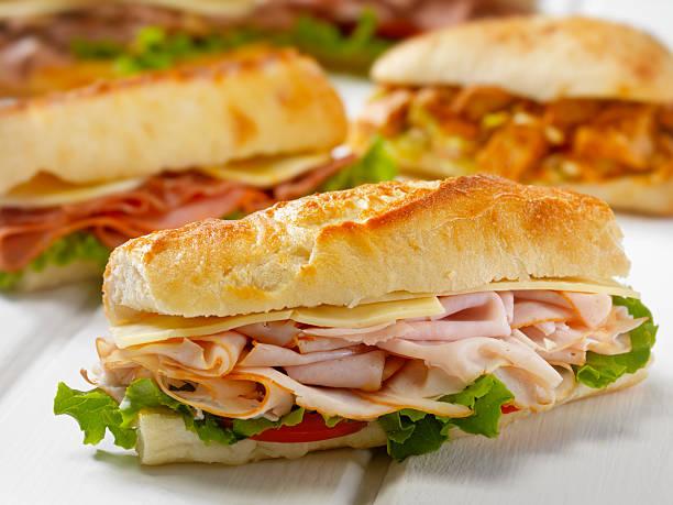 turkey and cheese sandwich on a ciabatta bread - 치아바타 빵 뉴스 사진 이미지