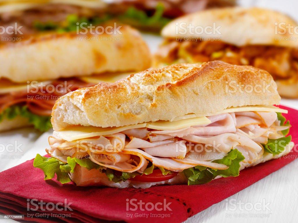 Turkey and Cheese Sandwich on a Ciabatta Bread stock photo