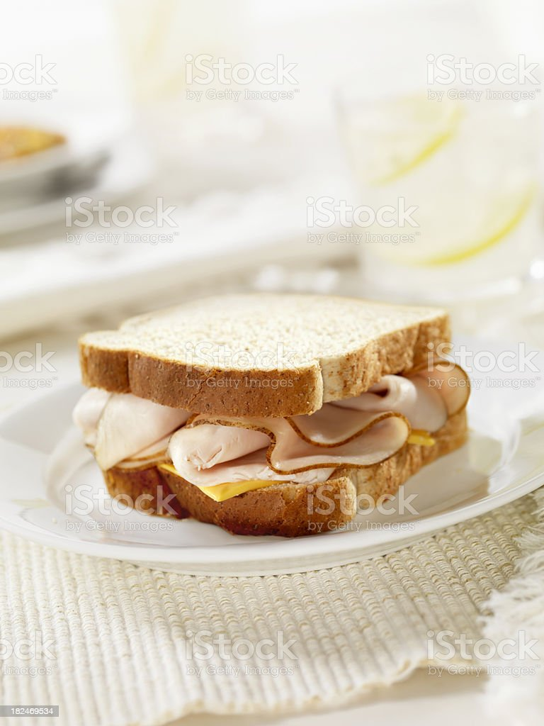 Turkey and Cheese Sandwich royalty-free stock photo