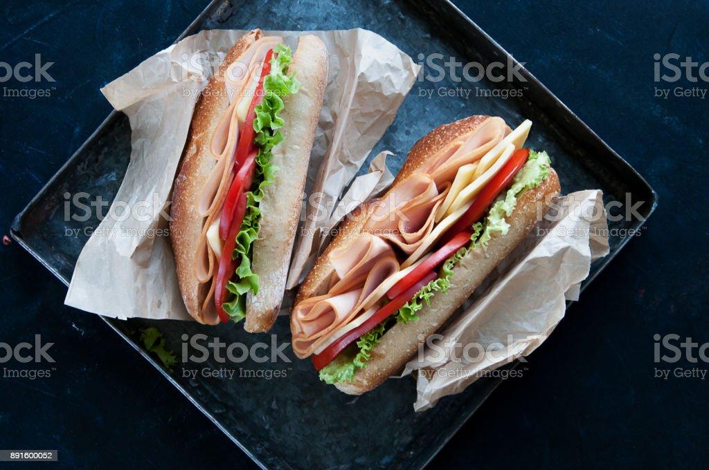 turkey and cheese sandwich stock photo