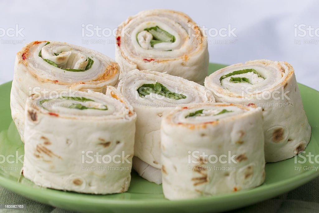 Turkey and cheese wrap sandwiches
