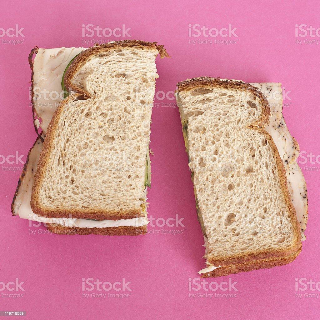 Turkey and Cucumber Sandwich on Wheat Bread stock photo