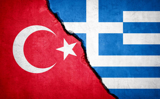 turkey and greece conflict. - grecia stato foto e immagini stock