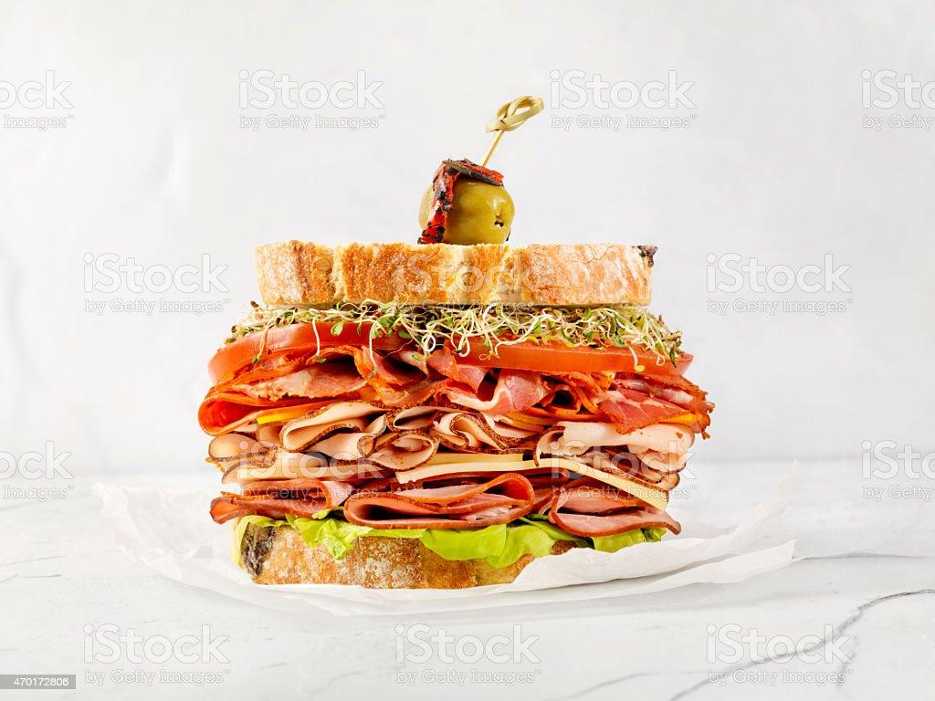 Turkey and Ham Deli Sandwich stock photo