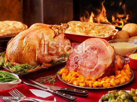 Turkey and Ham Dinner with Stuffing and All the Fixings  -Photographed on Hasselblad H3D2-39mb Camera