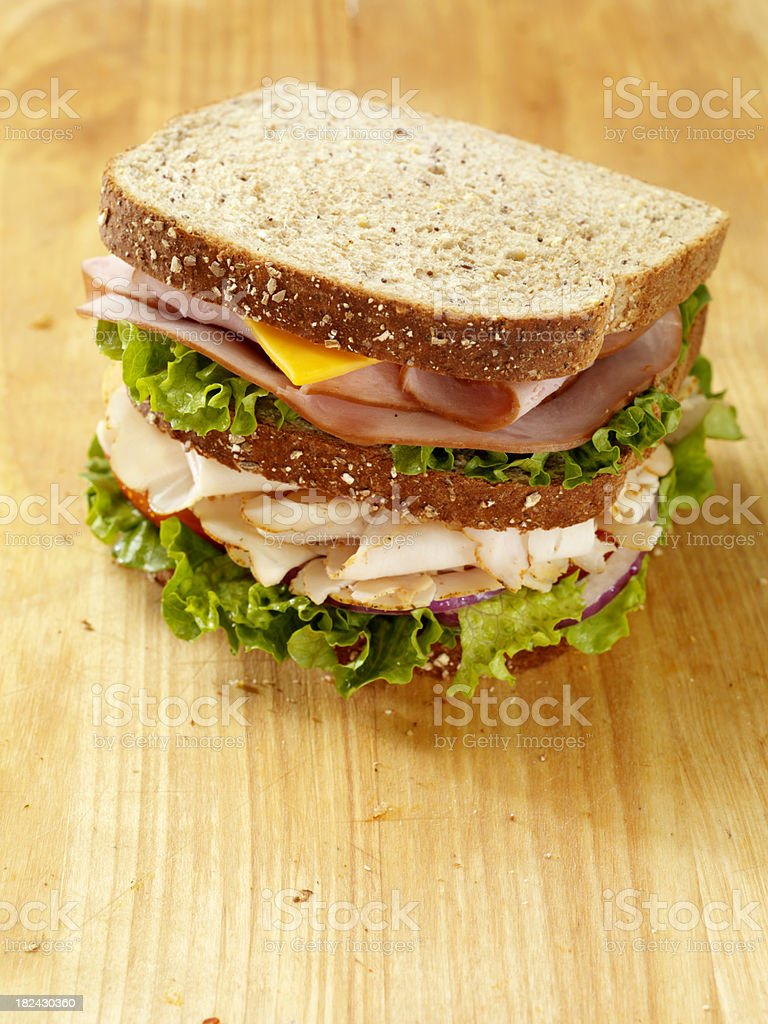 Turkey and Ham Sandwich royalty-free stock photo