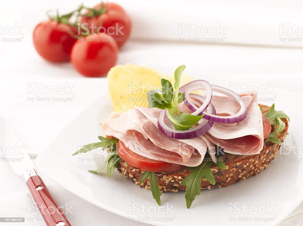 Turkey and Ham Sandwich with Potato Chips royalty-free stock photo