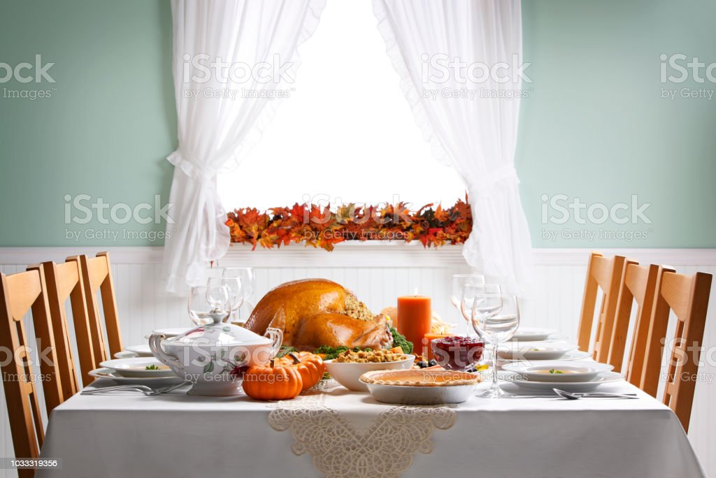 Turkey As Centerpiece For A Thanksgiving Feast stock photo