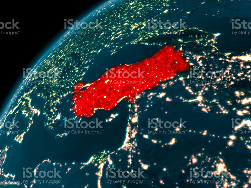 Türkei in der Nacht auf der Erde – Foto