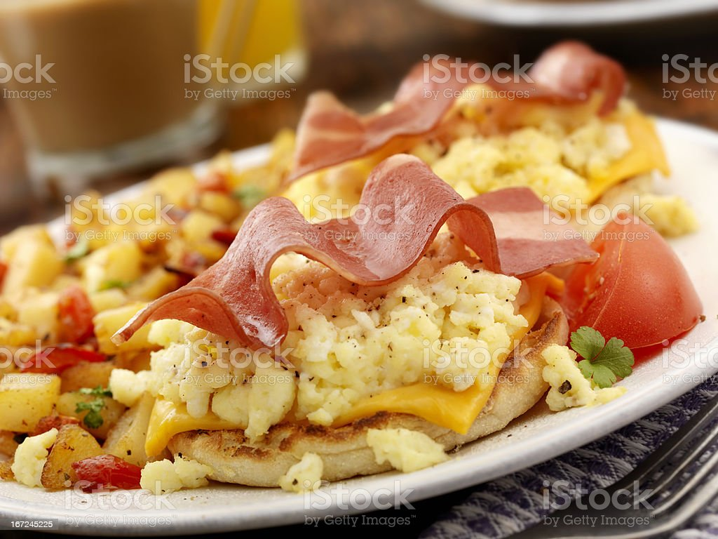 Turkey Bacon and Egg Breakfast Sandwich royalty-free stock photo