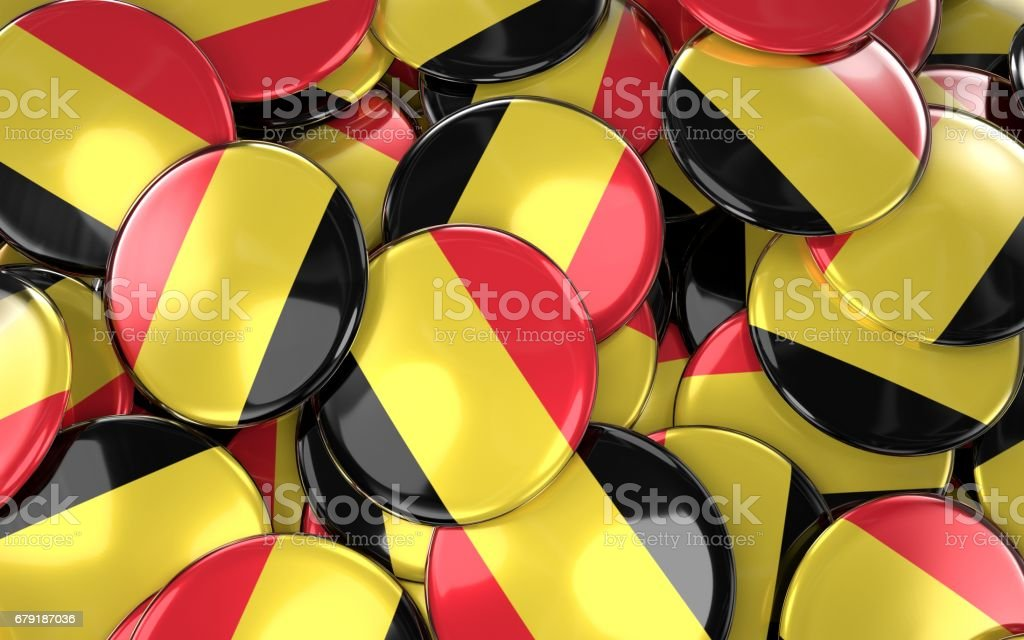 Turkey Badges Background - Pile of Belgian Flag Buttons. stock photo
