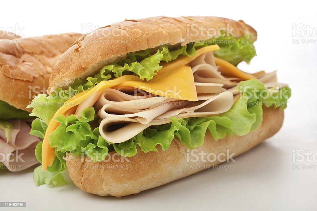 turkey ( chicken ) breast, cheese and lettuce sandwich royalty-free stock photo